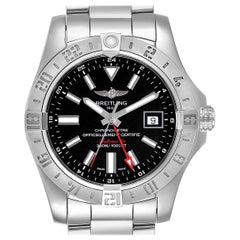 Breitling Aeromarine Avenger II GMT Black Dial Watch A32390 Box Papers