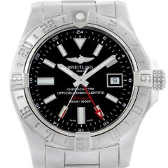 Breitling Aeromarine Avenger II GMT Black Dial Watch A32390 Papers