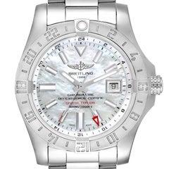 Breitling Aeromarine Avenger II GMT MOP Dial Steel Watch A32390 Box Card