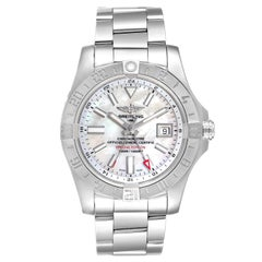 Breitling Aeromarine Avenger II GMT Mother of Pearl Dial Watch A32390 Box Papers