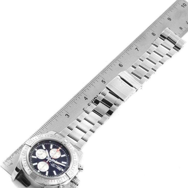 Breitling Aeromarine Super Avenger Black Dial Steel Men's Watch A13371 For Sale 6