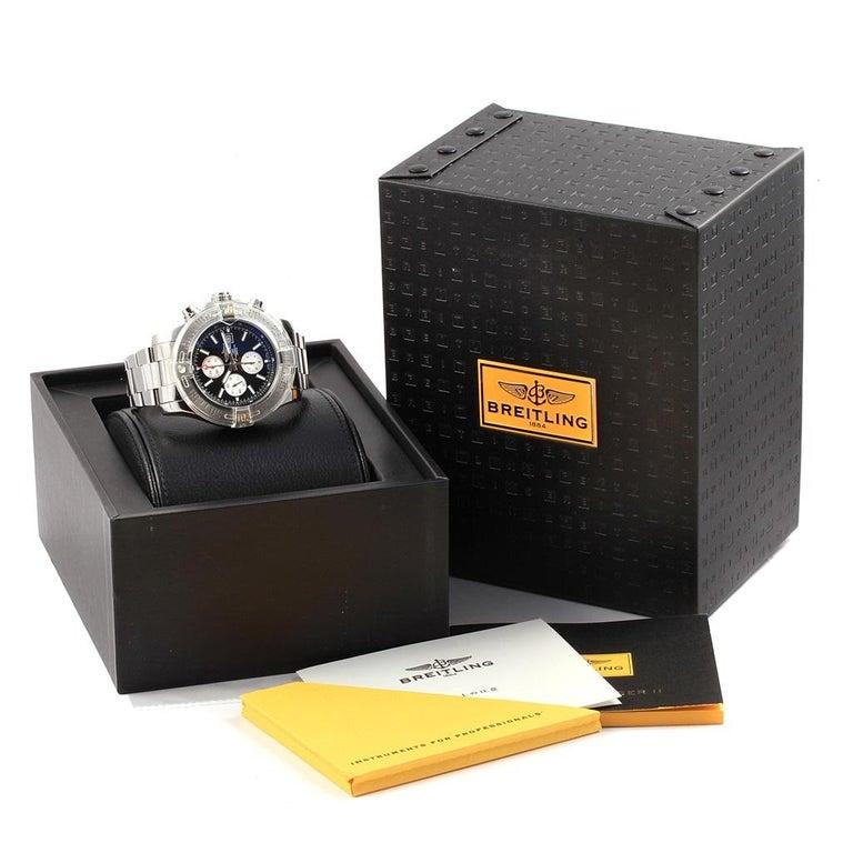 Breitling Aeromarine Super Avenger Black Dial Steel Men's Watch A13371 For Sale 7