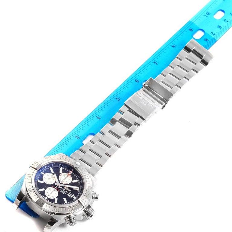 Breitling Aeromarine Super Avenger Black Dial Steel Men's Watch A13371 For Sale 8