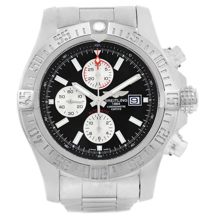 Breitling Aeromarine Super Avenger Black Dial Steel Mens Watch A13371. Automatic movement. Chronograph function. Stainless steel case 48 mm in diameter with screwed-locked crown and pushers. Case thickness 17.75 mm. Stainless steel unidirectional
