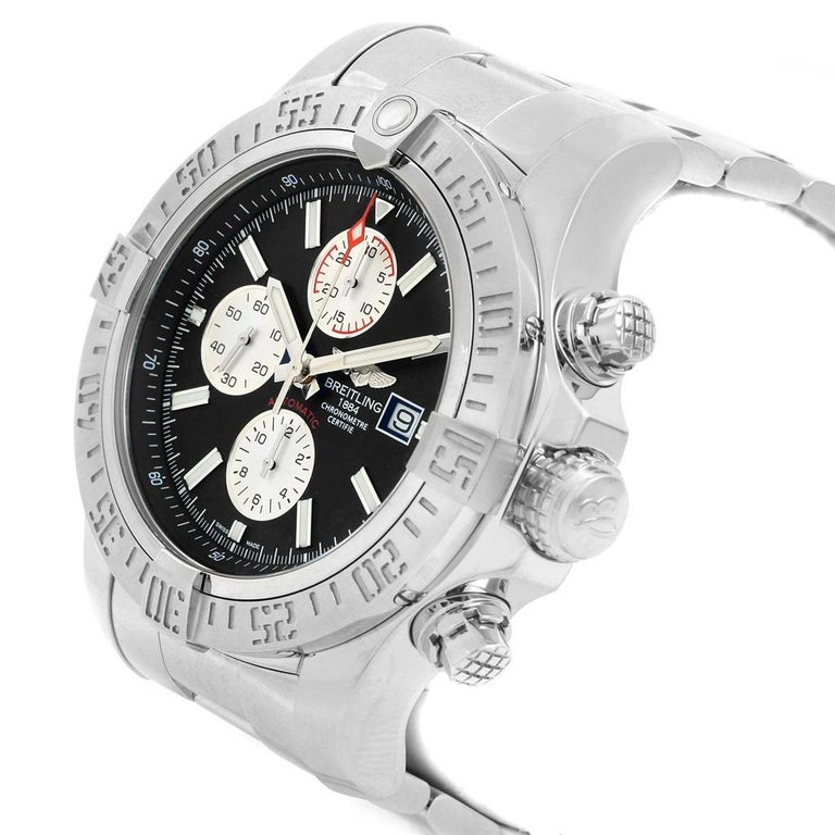 Breitling Aeromarine Super Avenger Black Dial Steel Men's Watch A13371 In Excellent Condition For Sale In Atlanta, GA
