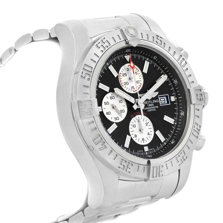 Men's Breitling Aeromarine Super Avenger Black Dial Steel Men's Watch A13371 For Sale