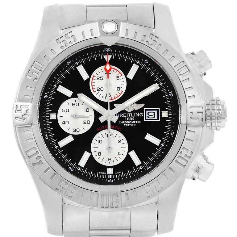 Breitling Aeromarine Super Avenger Black Dial Steel Men's Watch A13371 For Sale 1