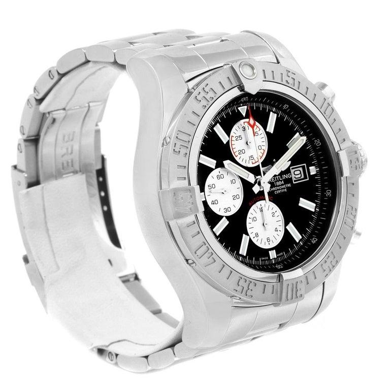 Breitling Aeromarine Super Avenger Black Dial Steel Men's Watch A13371 For Sale 2