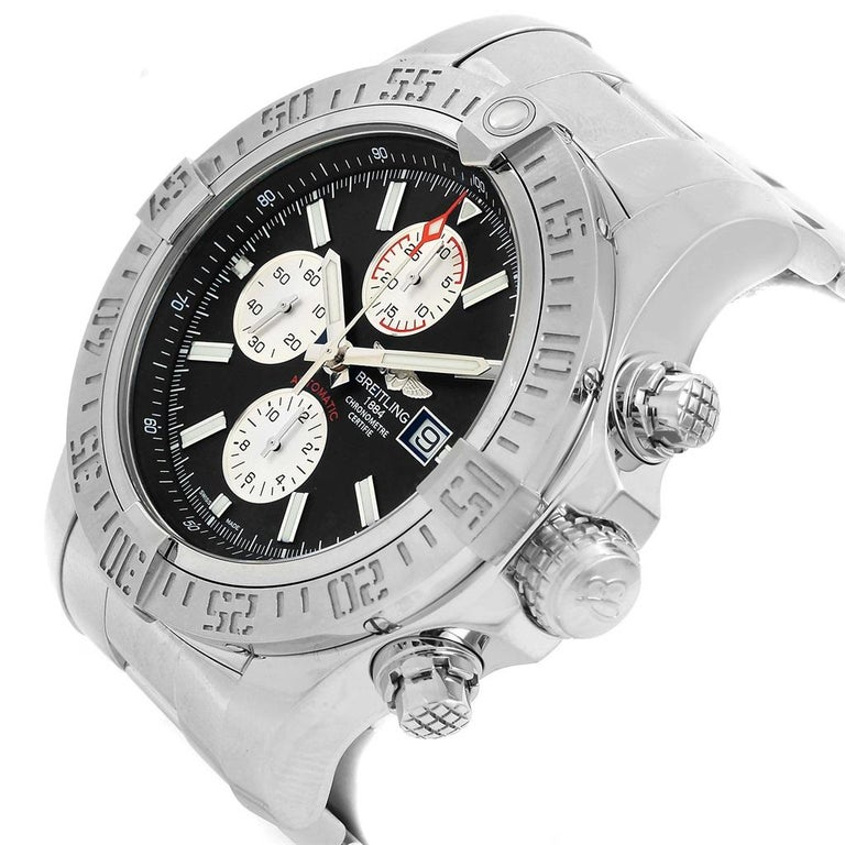 Breitling Aeromarine Super Avenger Black Dial Steel Men's Watch A13371 For Sale 3