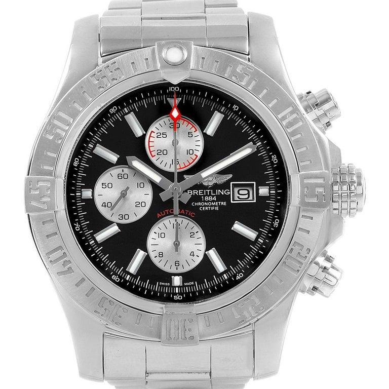 Breitling Aeromarine Super Avenger Black Dial Steel Men's Watch A13371 For Sale