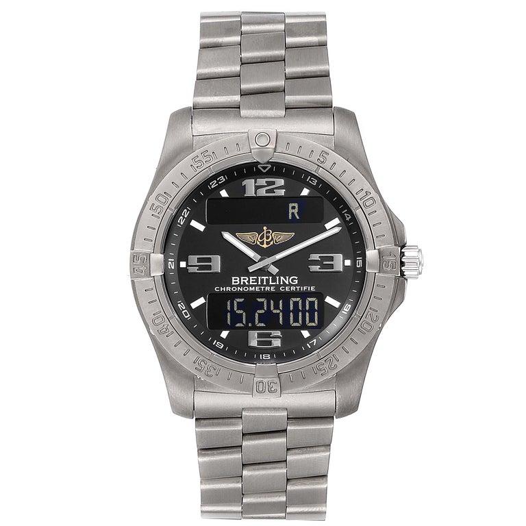 Breitling Aerospace Avantage Titanium Perpetual Alarm Watch E79362 Box Papers. Quartz movement. Perpetual calendar, chronograph, alarm, date, day, GMT, second time zone, hour, minute, second,