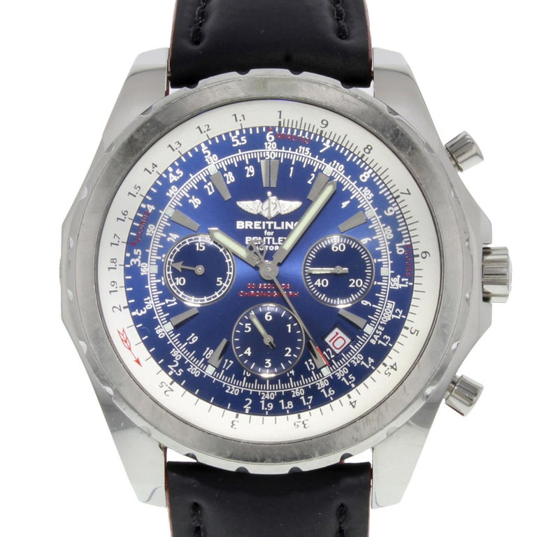 Breitling Stainless Steel Bentley Automatic Wristwatch Ref: Breitling Bentley A25362 Blue Dial Chronograph Steel