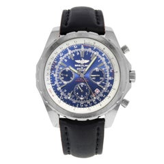 Breitling Bentley Chronograph Blue Dial Steel Automatic Mens Watch A25362 Mint