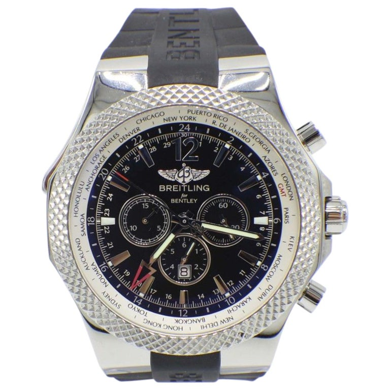 Breitling Bentley Gmt Wristwatches: Breitling Bentley GMT A47362 Stainless Steel Box And