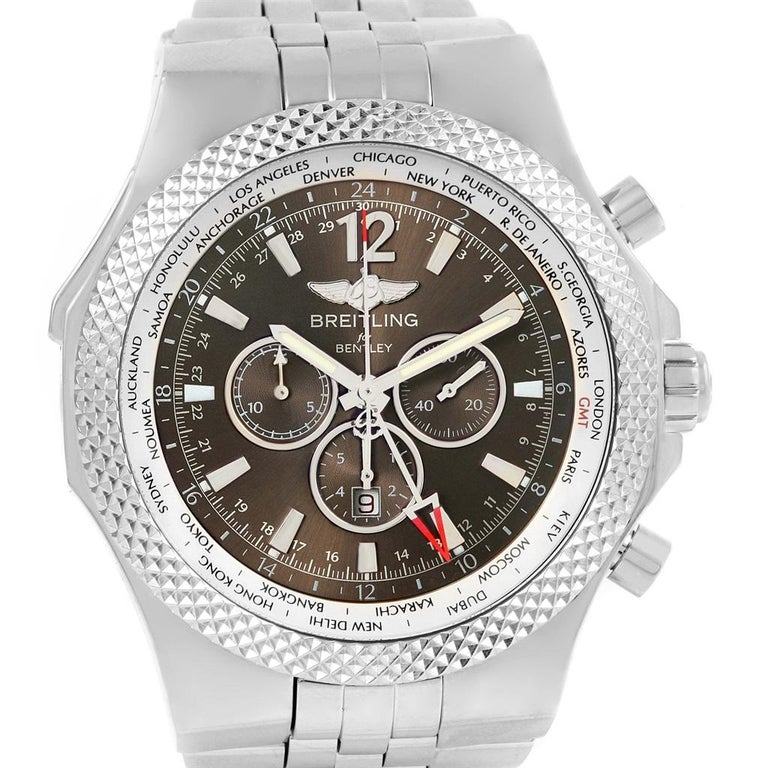 Breitling Bentley Gmt Wristwatches: Breitling Bentley GMT Bronze Dial Men's Watch A47362 Box