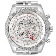 Breitling Bentley GMT Chronograph Silver Dial Watch AB0431 Box