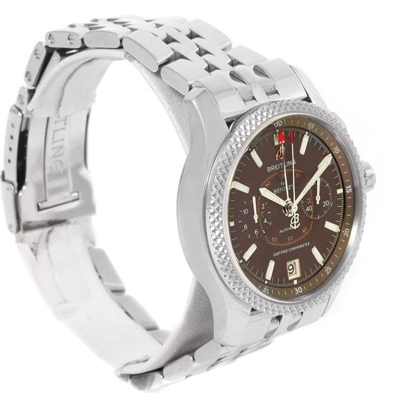 Breitling Bentley Mark VI Brown Dial Men's Steel Platinum Watch P26362 For Sale 6