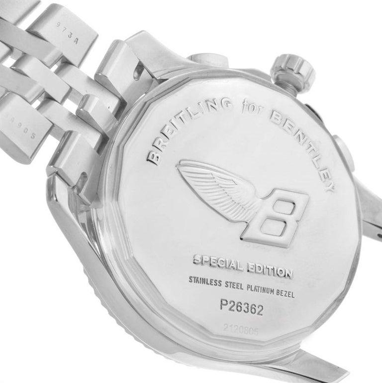 Breitling Bentley Mark VI Brown Dial Men's Steel Platinum Watch P26362 For Sale 7