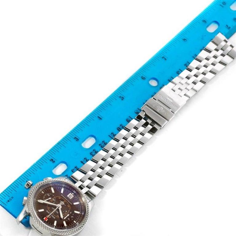 Breitling Bentley Mark VI Brown Dial Men's Steel Platinum Watch P26362 For Sale 8