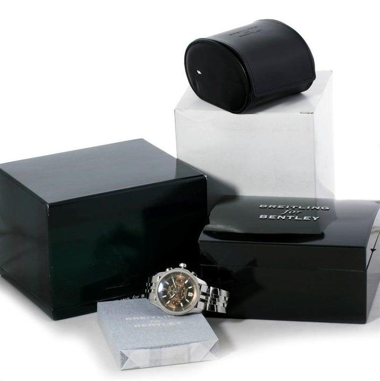 Breitling Bentley Mark VI Brown Dial Men's Steel Platinum Watch P26362 For Sale 9
