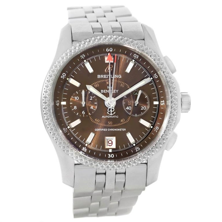 Breitling Bentley Mark VI Brown Dial Mens Steel Platinum Watch P26362. Self-winding automatic officially certified chronometer movement. Chronograph function. Stainless steel case 43.0 mm in diameter. Stainless steel screwed-down crown and pushers.