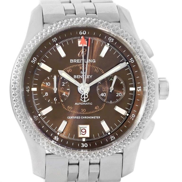 Breitling Bentley Mark VI Brown Dial Men's Steel Platinum Watch P26362 In Excellent Condition For Sale In Atlanta, GA