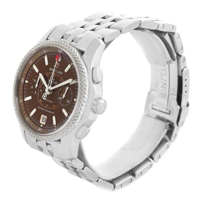 Breitling Bentley Mark VI Brown Dial Men's Steel Platinum Watch P26362 For Sale 1
