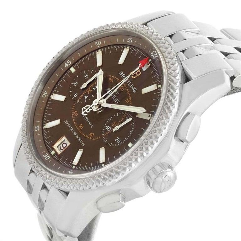Breitling Bentley Mark VI Brown Dial Men's Steel Platinum Watch P26362 For Sale 2