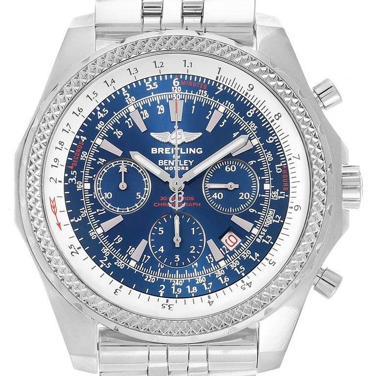 Breitling Bentley Watch >> Breitling Bentley Motors Blue Dial Chronograph Watch A25362 Box