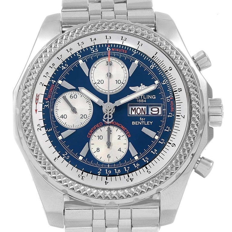 Breitling Bentley Motors GT Blue Dial Sreel Mens Watch A13362. Self-winding automatic officially certified chronometer movement. Chronograph function. Stainless steel case 44.8 mm in diameter. Stainless steel screwed-down crown and pushers. Screw