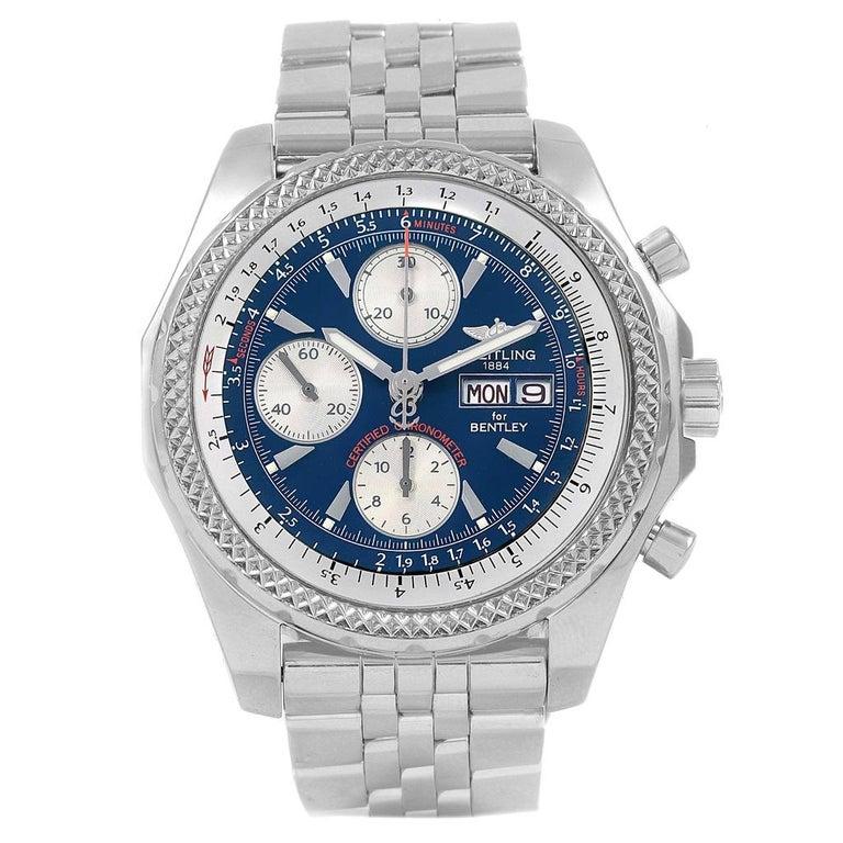 Breitling Bentley Motors GT Blue Dial Sreel Men's Watch A13362 In Excellent Condition For Sale In Atlanta, GA