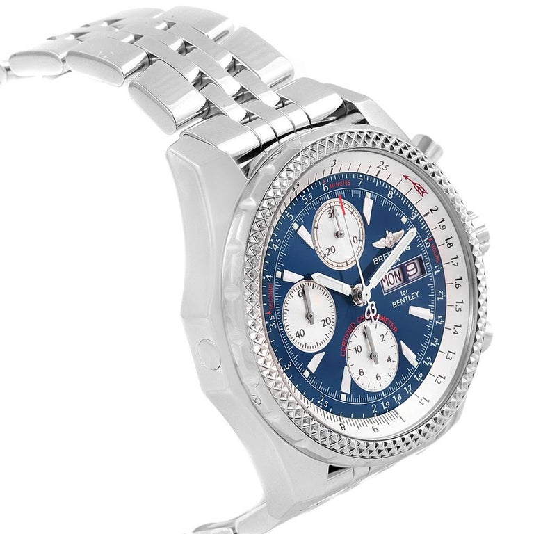 Breitling Bentley Motors GT Blue Dial Sreel Men's Watch A13362 For Sale 2