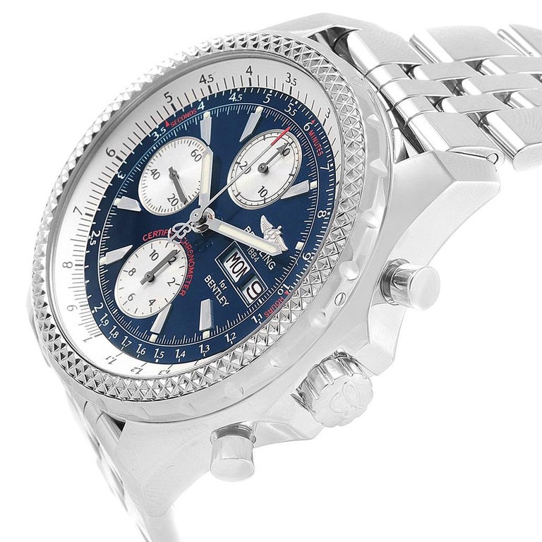 Breitling Bentley Motors GT Blue Dial Sreel Men's Watch A13362 For Sale 3
