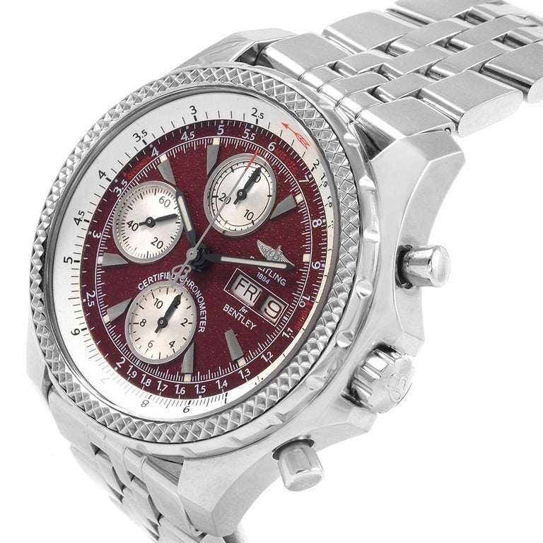 Breitling Bentley Motors GT Burgundy Dial Mens Watch A13362 Box Papers. Self-winding automatic officially certified chronometer movement. Chronograph function. Stainless steel case 44.8 mm in diameter. Stainless steel screwed-down crown and pushers.