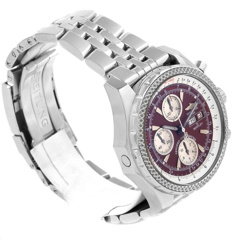 Breitling Bentley Motors GT Burgundy Dial Men's Watch A13362 Box Papers In Excellent Condition For Sale In Atlanta, GA