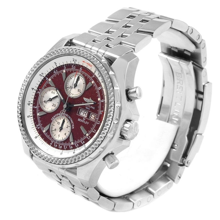 Breitling Bentley Motors GT Burgundy Dial Men's Watch A13362 Box Papers For Sale 2