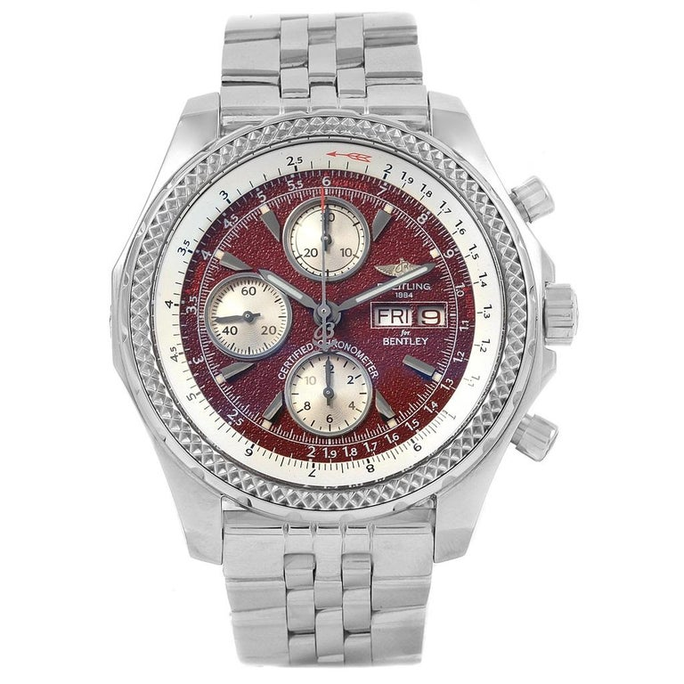 Breitling Bentley Motors GT Burgundy Dial Men's Watch A13362 Box Papers For Sale 5
