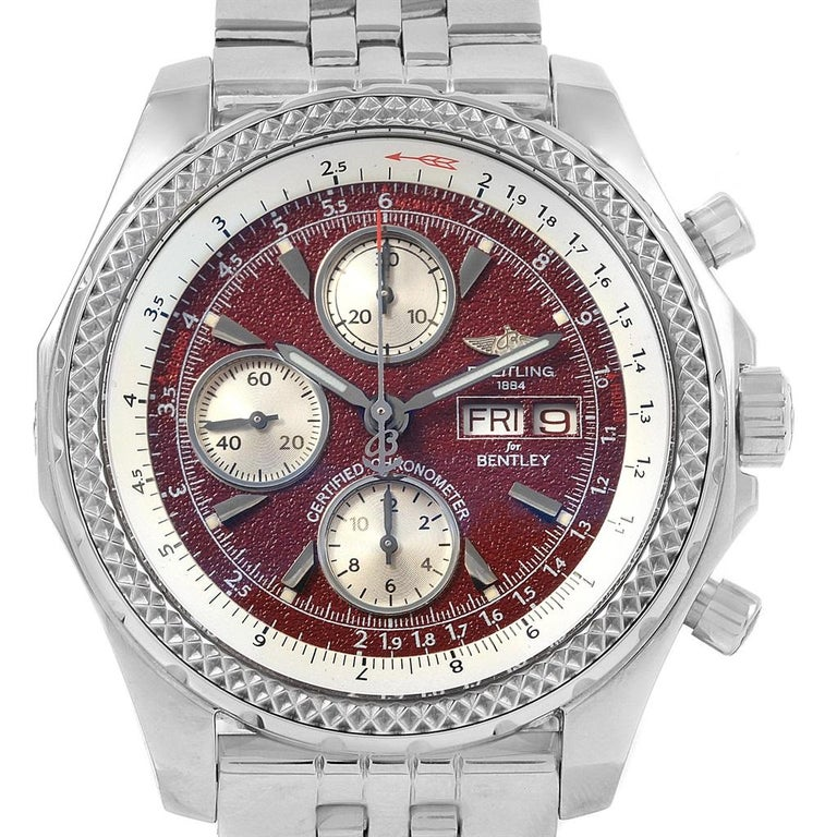 Breitling Bentley Motors GT Burgundy Dial Men's Watch A13362 Box Papers For Sale