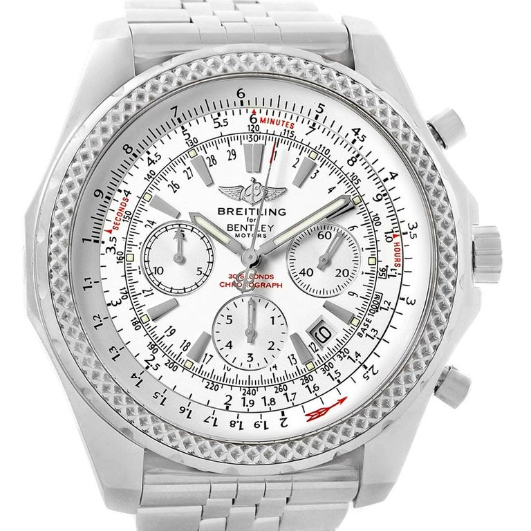 Breitling Bentley Gmt Wristwatches: Breitling Bentley Motors Silver Dial Chronograph Watch