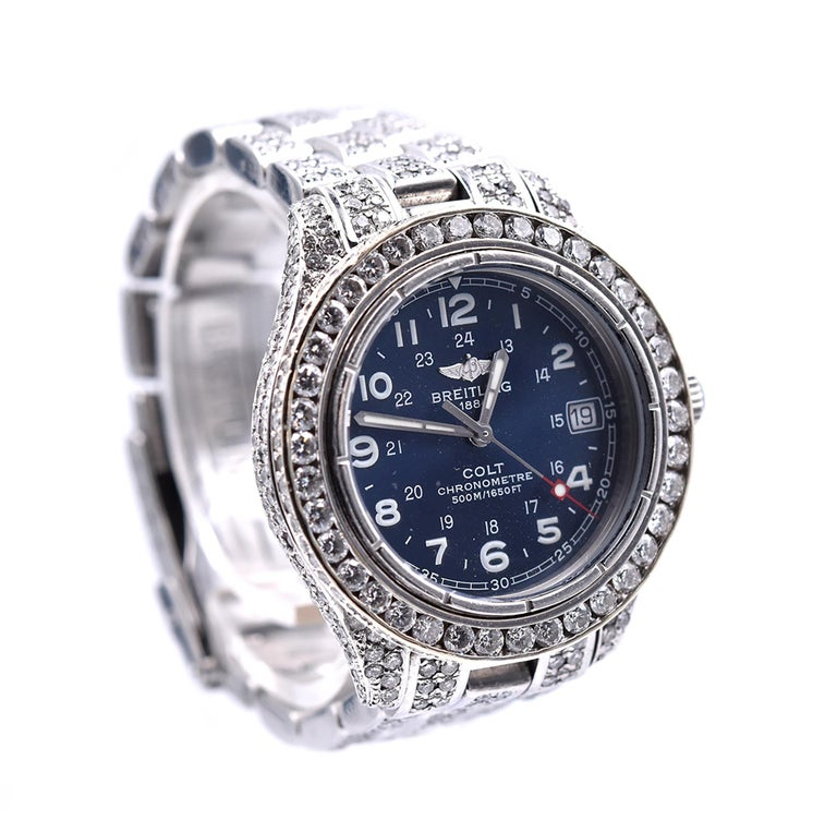Brand: Breitling Movement: quartz Function: hours, minutes, seconds, date, chronometer, 70 hour power reserve Case: round 28mm stainless steel case, scratch resistant sapphire crystal, water resistant to 500m, stainless steel push/pull crown, steel