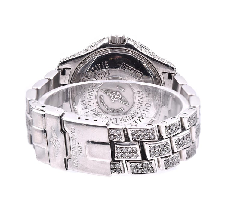 Breitling Black Stainless Steel Custom Set Diamond Colt In Excellent Condition For Sale In Scottsdale, AZ
