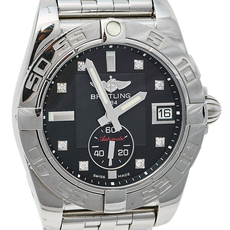 Contemporary Breitling Black Stainless Steel Diamonds Galactic A37330 Men's Wristwatch 36 mm For Sale