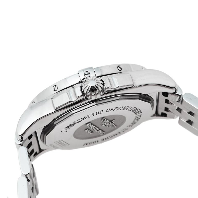 Breitling Black Stainless Steel Diamonds Galactic A37330 Men's Wristwatch 36 mm For Sale 2