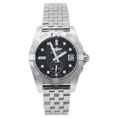 Breitling Black Stainless Steel Diamonds Galactic A37330 Men's Wristwatch 36 mm