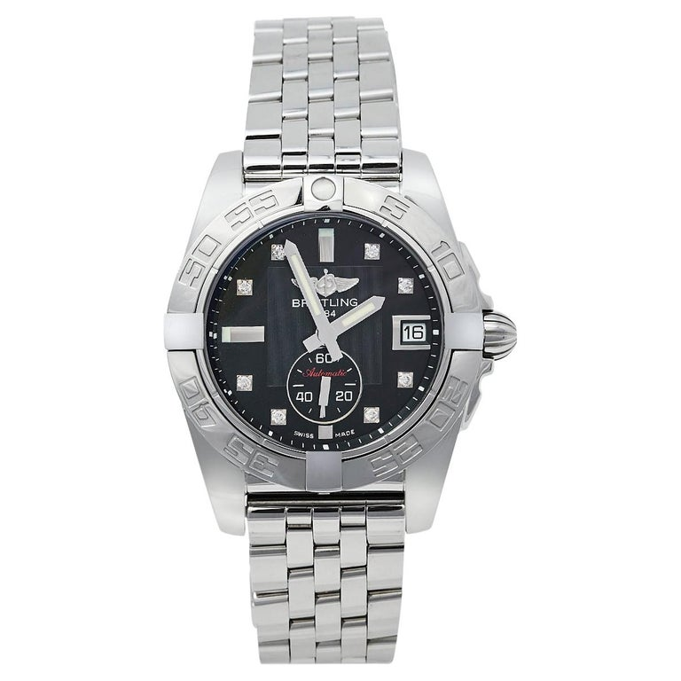 Breitling Black Stainless Steel Diamonds Galactic A37330 Men's Wristwatch 36 mm For Sale