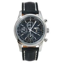 Breitling Black Stainless Steel Transocean Chronograph Men's Wristwatch 43 MM
