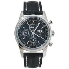 Breitling Black Stainless Steel Transocean Chronograph Men's Wristwatch 43MM
