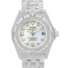 Breitling Callistino White Gold MOP Diamond Ladies Watch J72345