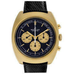 Breitling Chronograph 9757 Gold Plate Panda Dial Manual Watch