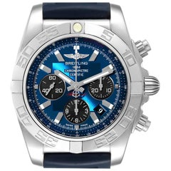 Breitling Chronomat 01 Blue Dial Steel Men's Watch AB0110 Box Papers